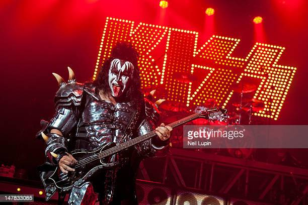 Gene Simmons of KISS performs on stage during a one-off show in support of Help For Heroes at HMV Forum on July 4, 2012 in London, United Kingdom.
