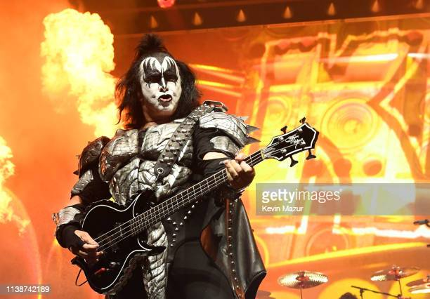 Gene Simmons of KISS performs on stage during End Of The Road World Tour at Madison Square Garden on March 27, 2019 in New York City.