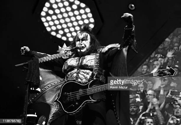 Gene Simmons of KISS performs on stage during End Of The Road World Tour at Madison Square Garden on March 27 2019 in New York City