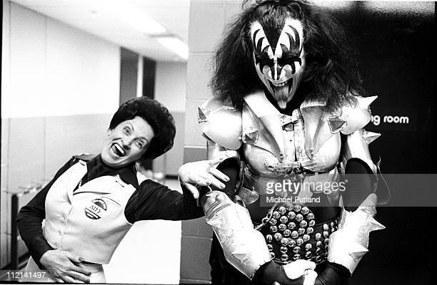 Gene Simmons of Kiss portrait backstage in dressing room New York February 1977