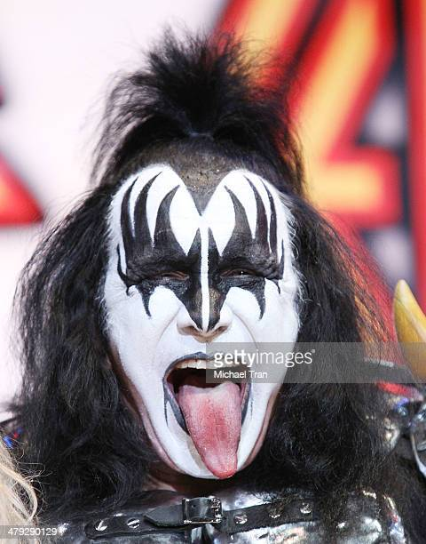 Gene Simmons of KSS speaks onstage during the KISS and Def Leppard announcment of their 2014 Summer tour held at The House of Blues on Sunset on...