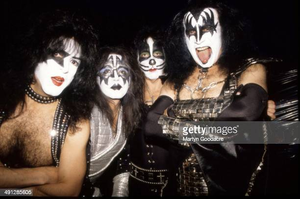 Gene Simmons Paul Stanley Ace Frehley and Peter Criss of Kiss backstage at Donington United Kingdom 1996