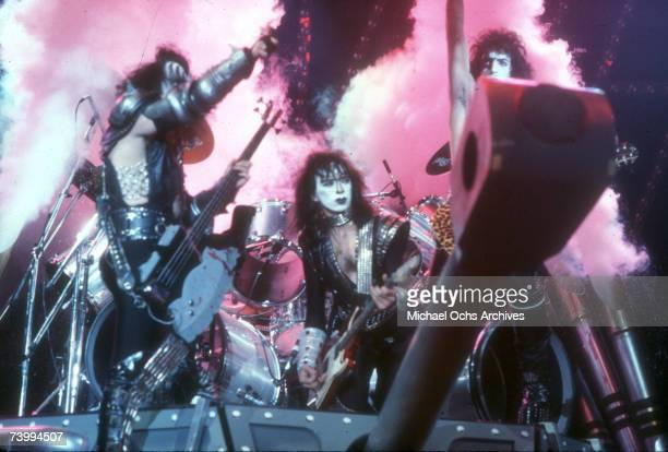 Gene Simmons Paul Stanley and Ace Frehley of the rock and roll band 'Kiss' performing onstage in circa 1977