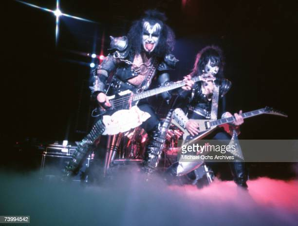 Gene Simmons Paul Stanley and Ace Frehley of the rock and roll band Kiss performing onstage in circa 1977