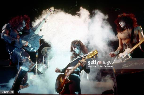 Gene Simmons Paul Stanley and Ace Frehley of the rock and roll band Kiss perform onstage in circa 1977