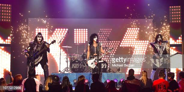 Gene Simmons Paul Stanley and Tommy Thayer of Kiss perform at Gamers' Choice Awards 2018 at Fonda Theater on December 3 2018 in Los Angeles California