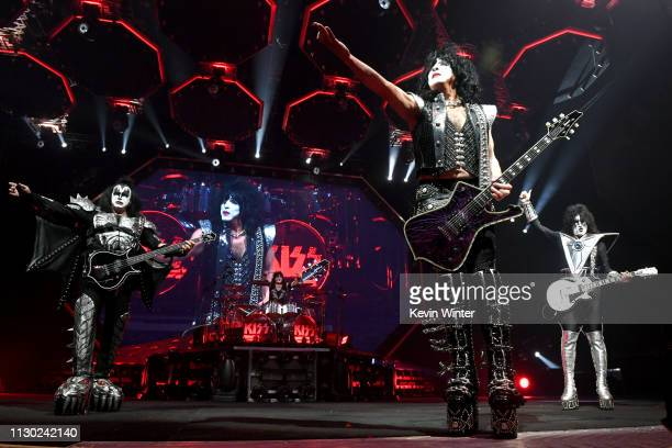 Gene Simmons, Paul Stanley and Tommy Thayer of KISS perform during their End Of The Road World Tour at The Forum on February 16, 2019 in Inglewood,...
