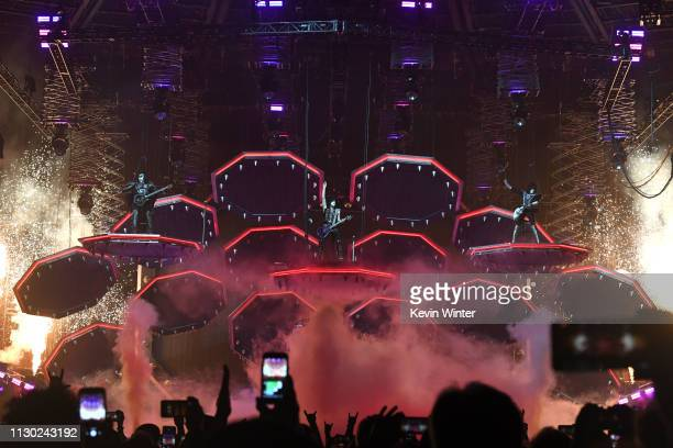 Gene Simmons Paul Stanley and Tommy Thayer of KISS perform during their End Of The Road World Tour at The Forum on February 16 2019 in Inglewood...