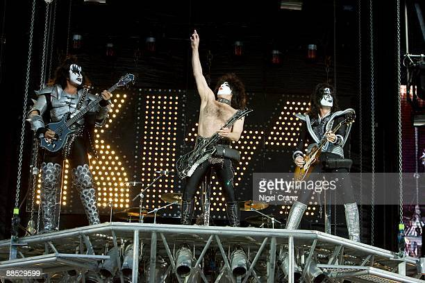 LR Gene Simmons Paul Stanley and Tommy Thayer of Kiss perform on stage at the Download Festival held at Donington Park Leicestershire on June 13 2008
