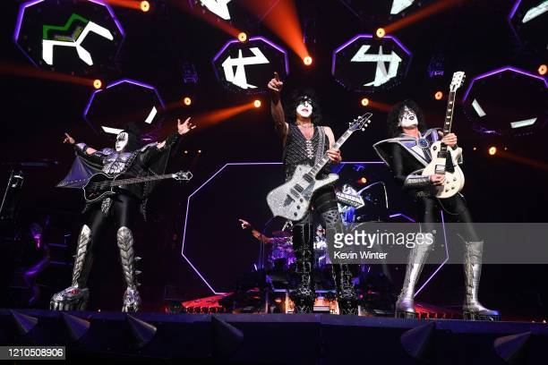 Gene Simmons Paul Stanley and Tommy Thayer of Kiss perform onstage at Staples Center on March 04 2020 in Los Angeles California