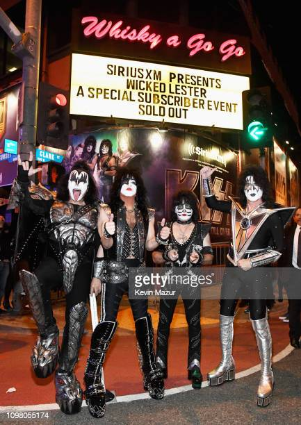 Gene Simmons Paul Stanley Eric Singer and Tommy Thayer of KISS pose on Sunset Blvd during KISS Performs Private Concert For SiriusXM At Whisky A Go...