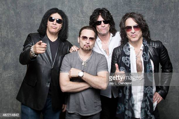 Gene Simmons Paul Stanley Eric Singer and Tommy Thayer of KISS poses for a portraits at ComicCon International 2015 for Los Angeles Times on July 9...