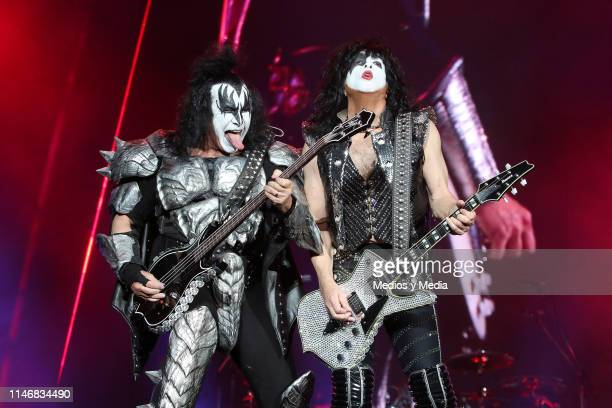 Gene Simmons Paul Stanley of KISS performs on stage during the Domination Festival 2019 at Foro Sol on May 3 2019 in Mexico City Mexico