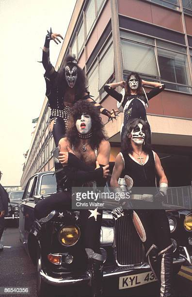 Gene Simmons Paul Stanley Peter Criss and Ace Frehley of KISS in London 1976