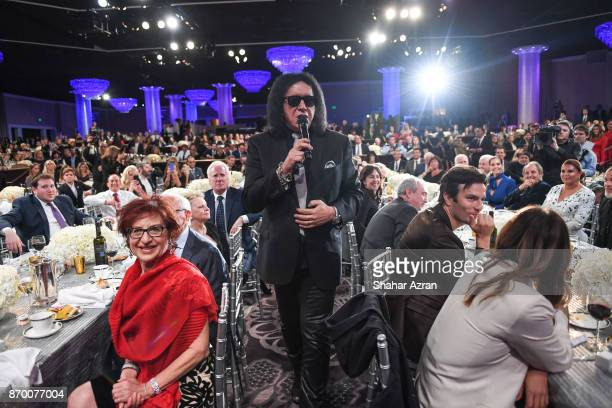 Gene Simmons performing at the FIDF Western Region Gala at The Beverly Hilton Hotel on November 2 2017 in Beverly Hills California