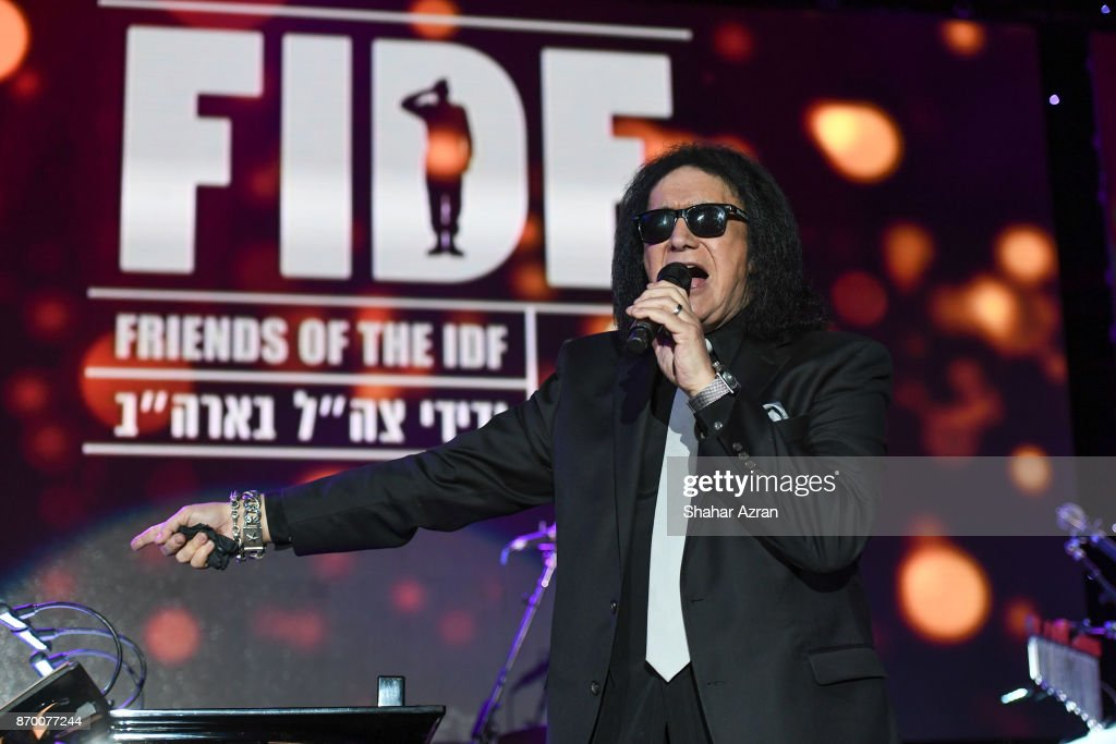 Gene Simmons performing at the FIDF Western Region Gala at The Beverly Hilton Hotel on November 2, 2017 in Beverly Hills, California.