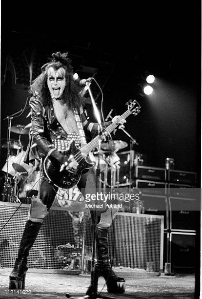 Gene Simmons performing with American heavy metal group Kiss on their second UK appearance at the Hammersmith Odeon London 16th May 1976