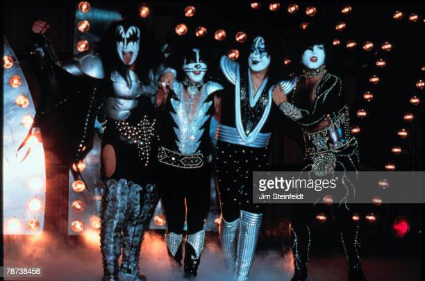 Gene Simmons Peter Criss Ace Frehley Paul Stanley of Kiss perform at the Mann Chinese Theatre in Los Angeles California in 1997 on their Reunion Tour