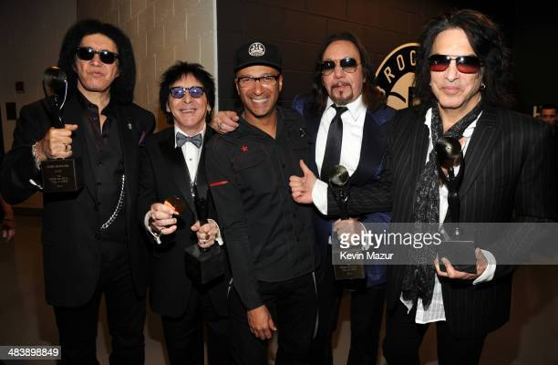 Gene Simmons Peter Criss Tom Morello Ace Frehley and Paul Stanley attend the 29th Annual Rock And Roll Hall Of Fame Induction Ceremony at Barclays...