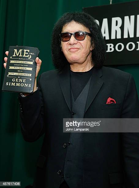 Gene Simmons signs copies of his book 'Me Inc Build an Army of One Unleash Your Inner Rock God Win in Life and Business' at Barnes Noble Tribeca on...