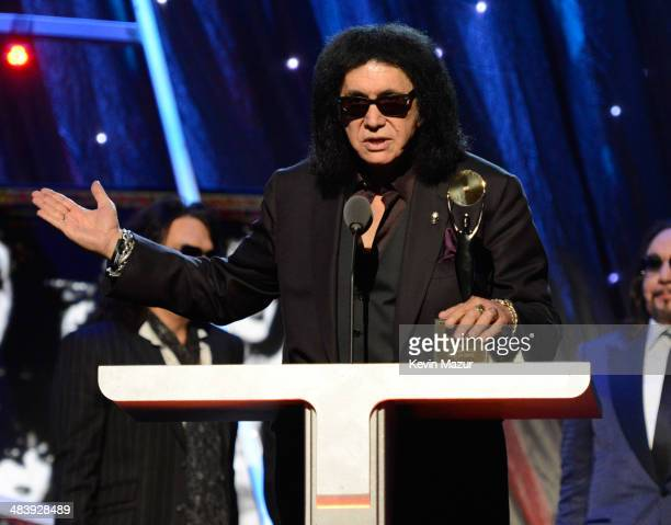 Gene Simmons speaks onstage at the 29th Annual Rock And Roll Hall Of Fame Induction Ceremony at Barclays Center of Brooklyn on April 10, 2014 in New...
