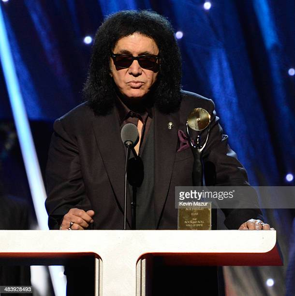 Gene Simmons speaks onstage at the 29th Annual Rock And Roll Hall Of Fame Induction Ceremony at Barclays Center of Brooklyn on April 10 2014 in New...