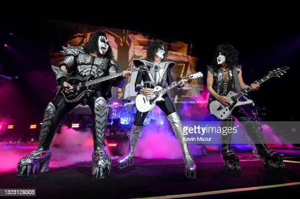"""Gene Simmons, Tommy Thayer, and Paul Stanley of KISS perform onstage during the Tribeca Festival screening of """"Biography: KISStory"""" at Battery Park..."""