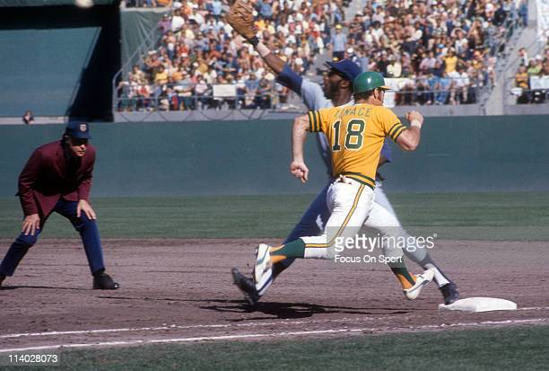 Gene Tenace of the Oakland Athletics races to first base against the New York Mets during the World Series in October 1973 at the OaklandAlameda...