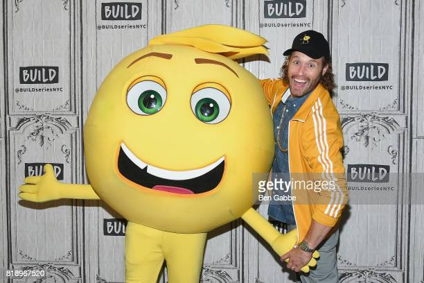 Gene the Emoji and actor TJ Miller attend the Build Series to discuss the new movie 'The Emoji Movie' at Build Studio on July 19 2017 in New York City