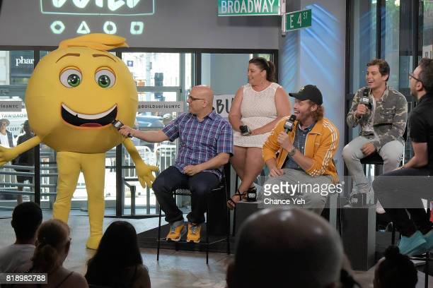Gene the emoji Tony Leondis Michelle Raimo Kouyate TJ Miller and Jake T Austin attend Build series to discuss their new movie The Emoji Movie at...