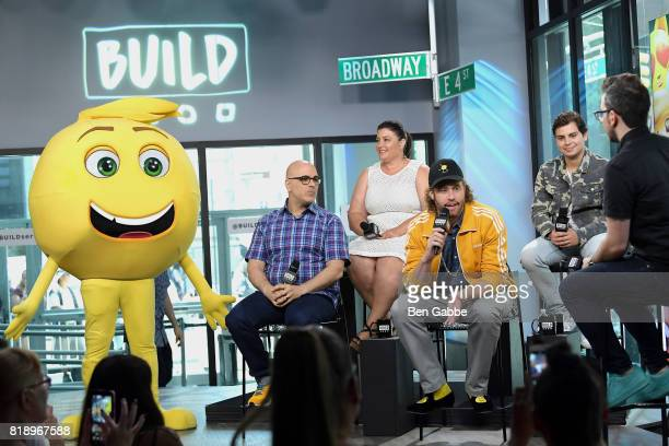 Gene the Emoji writer/director Tony Leondis producer Michelle Raimo Kouyate TJ Miller and Jake T Austin attend the Build Series to discuss the new...