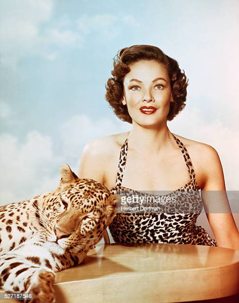 Gene Tierney and Leopard