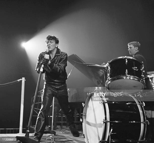 Gene Vincent performs on stage at NME Poll Winners' Concert Wembley Empire Pool 20 February 1960