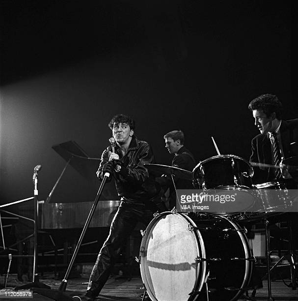 Gene Vincent performs on stage at NME Poll Winners Party Wembley Empire Pool 20 February 1960