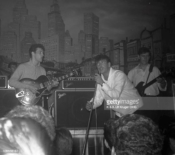 Gene Vincent performs on stage with the Star Club Combo at the Star Club in 1962 in Hamburg Germany