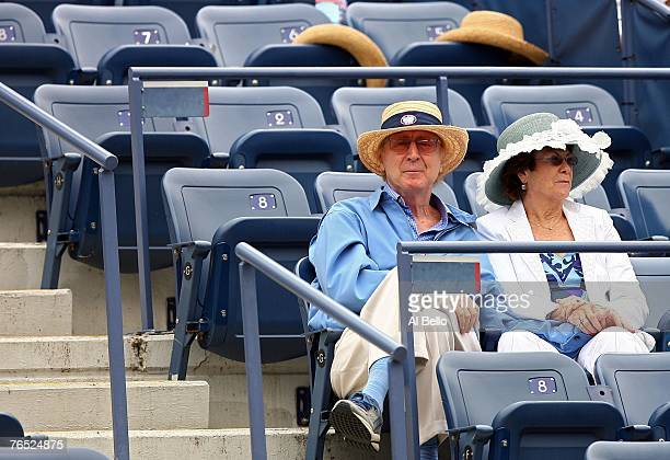 Gene Wilder and his wife Karen Boyer watch as Shahar Peer of Israel takes on Anna Chakvetadze of Russia during day ten of the 2007 US Open at the...