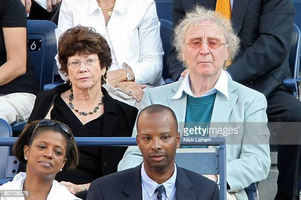 Gene Wilder and his wife Karen Boyer watch the 2008 US Open Men's Championship Match between Andy Murray of the United Kingdom and Roger Federer of...