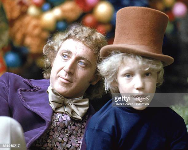 Gene Wilder as Willy Wonka and Peter Ostrum as Charlie Bucket on the set of the fantasy film 'Willy Wonka the Chocolate Factory' based on the book by...