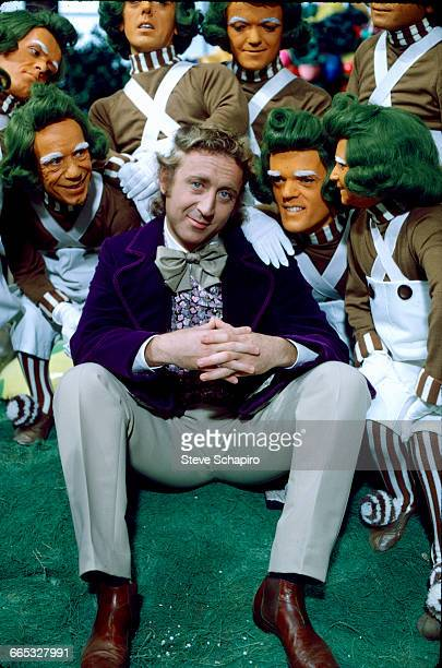 Gene Wilder as Willy Wonka surrounded by a group of Oompa Loompas on the set of the movie Willy Wonka the Chocolate Factory 1971