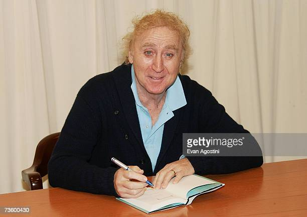 """Gene Wilder signs a copy of his new book """"My French Whore"""" at Barnes & Noble, March 15, 2007 in New York City."""