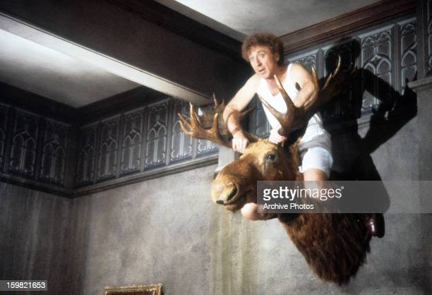 Gene Wilder sit atop a mounted moose head in a scene from the film 'Haunted Honeymoon', 1986.
