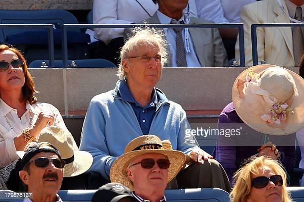 Gene Wilder watches the men's singles semifinal match between Novak Djokovic of Serbia and Stanislas Wawrinka of Switzerland on Day Thirteen of the...