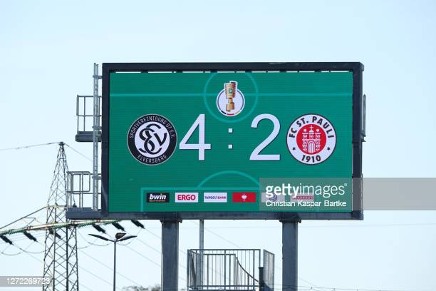 Geneal view of the scoreboard after the DFB Cup first round match between SV Elversberg and FC St. Pauli at Ursapharm-Arena an der Kaiserlinde on...
