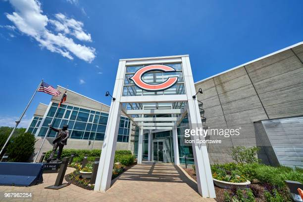 Geneneral view of the exterior of Halas Hall is seen during the Bears Minicamp on May 23, 2018 at Halas Hall, in Lake Forest, IL.