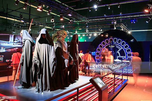 Genera view of the costums of character from the Star Wars film series during the exhibition Star Wars Identities at the Cite du Cinema on June 26 in...
