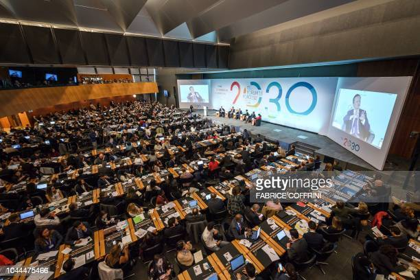 Genera view of the opening debate of the 2018 edition of the World Trade Organisation public forum on sustainable trade on October 2 2018 at the WTO...