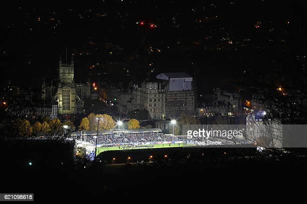 A generai view of the AngloWelsh Cup match between Bath and Leicester Tigers at the Recreation Ground on November 4 2016 in Bath England