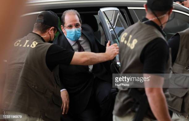 General Abbas Kamel , Egypt's intelligence chief, arrives for a meeting with leaders of Hamas in Gaza City on May 31, 2021.