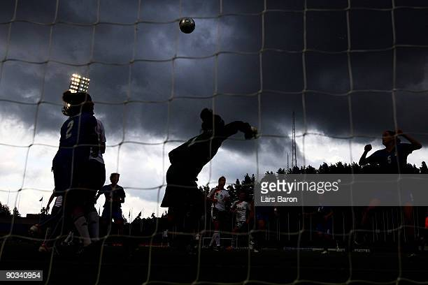 General action after a corner kick during the UEFA Women's Euro 2009 quarter final match between Germany and Italy at Lahti stadium on September 4...