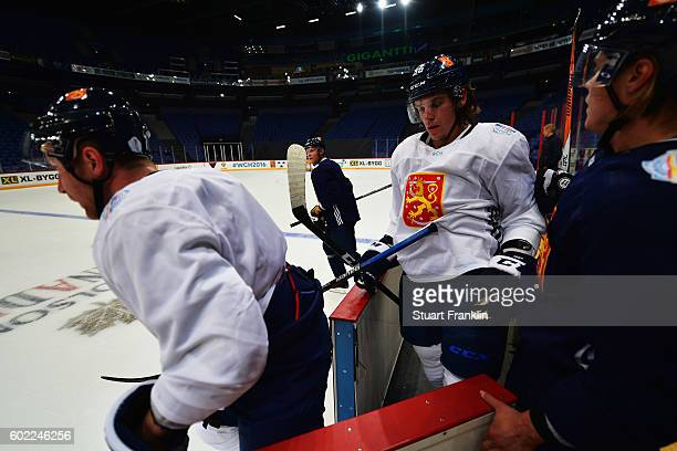 General action during practice for Team Finland at the Hartwell Areena on September 7 2016 in Helsinki Finland